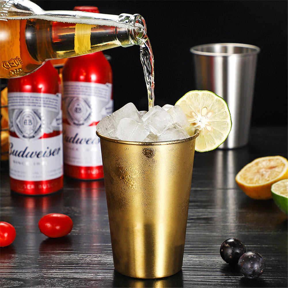 304 Stainless Steel Mugs Sliver Rose Gold Breakfast Milk Coffee Cup Outdoor Travel Camping Wine Whiskey Beer Metal Cup Drinkware