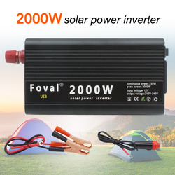 Dual USB 2000W Portable Power Inverter Charger Converter Adapter DC 12V/24V to AC 220V 230V Black Red Silver Universal Socket