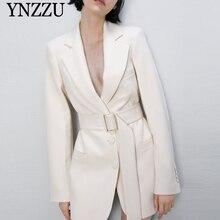 2019 New arrival Beige Women blazer With belt lapel collar Female suit Slim sexy
