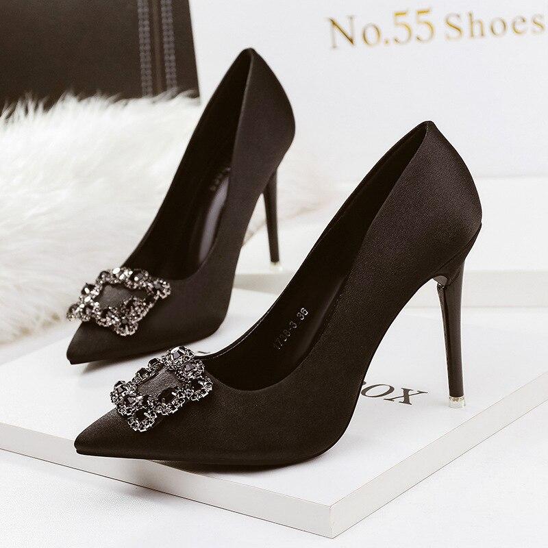 ZHENZHOU PUMPS Point Shallow Mouth High Heels Nightclub Sexy Women's Shoes Stiletto Buckle Diamond Rhinestone Wedding Shoes