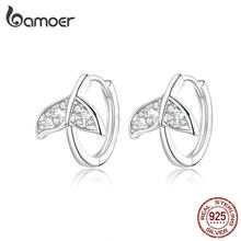 bamoer Mermaid Fish Tail Tiny Hoop Earrings for Women Engagement Statement Ear Hoops 925 Sterling Silver Jewelry BSE259(China)