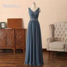 vestido madrinha Grey Bridesmaid Dresses Long Chiffon Floor Length wedding party dress robe demoiselle d'honneur