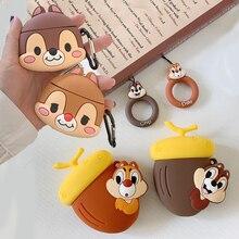 Für Apple AirPods Fall 3D Nette Cartoon Chip Dale Eichhörnchen Chipmunk Kiefer Muttern Drahtlose Kopfhörer Headset Abdeckung für Airpods 2 shell