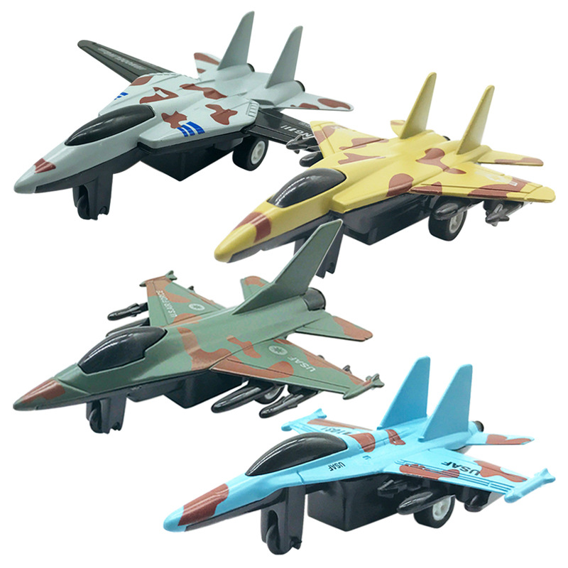 4pcs/ Set Kids Glider Fighter Aircrafts Toy Mini Alloy Pull Back Camouflage Airplane Plane Model Toy Children Outdoor Toys Games