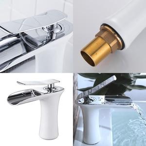 Image 4 - Torneira para banheiro bronze antigo, torneira de cachoeira para banheiro com água quente e fria, misturador de água de níquel elf100