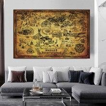 Cartaz de cartaz de seda pintura decorativa 24x32 Polegada uma lenda de zelda hyrule mapa