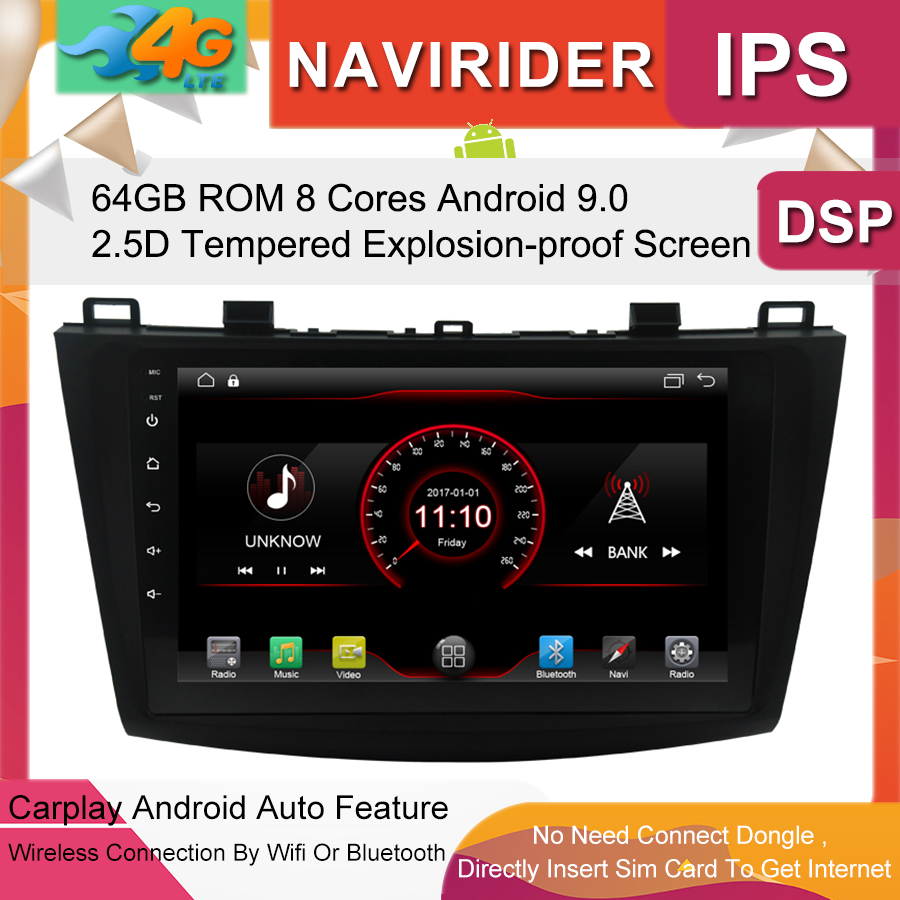 Built in 4G Lte car Intelligent navigation tape recorder 9.0 android car gps <font><b>radio</b></font> multimedia player for <font><b>MAZDA</b></font> <font><b>3</b></font> 2013 2016 image