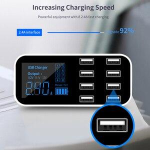 Image 4 - KEBIDU 8 Multi Port Charging Station USB Adapter Car Charger Smart Display Station 40W For iPhone Samsung Xiaomi Huawei 12V 24V