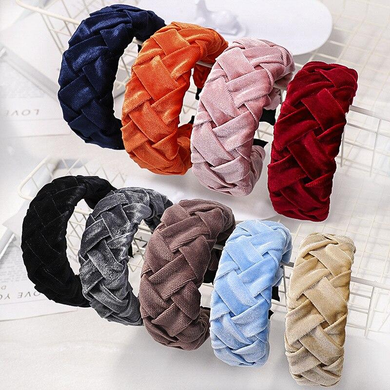 Xugar Velvet Fabric Headband For Women Solid Ponytail Style Headbands Women Hair Accessories Girls Hair Band