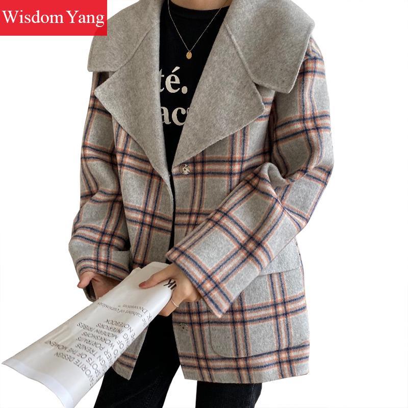 Winter Wrap Coats Women Sheep Wool Coats Grey Khaki Plaid Short Coat Bodycon Korean Woolen Plus Size Jackets Overcoat Outerwear