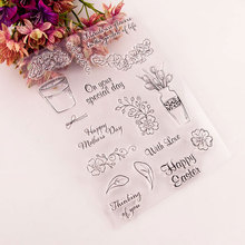 Clear Rubber Stamps Flowers Vase Stamps Silicone for DIY Scrapbooking Card Making Photo Album Crafts handmade Decor New Stamps new scrapbook diy photo album cards butterfly style transparent acrylic silicone rubber clear stamps sheet handmade craft decor