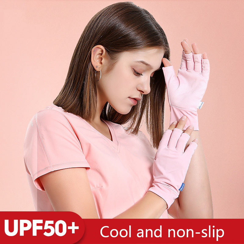 Men Women Ice Silk Sun Protection Gloves Half Finger Breathable Anti-UV Gloves Outdoor Driving Riding Non-Slip Sports Sleeve