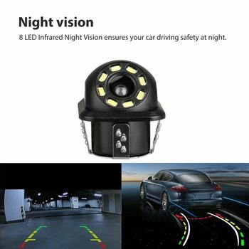 Car Rear View Camera 8 LED Night Vision Reversing Auto Parking Monitor Waterproof 170 Degree HD Video Round Back Up Camera