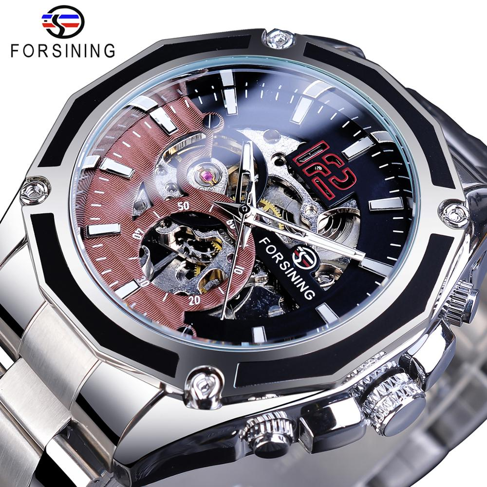 Forsining Open Work Stainless Steel Luminours Military Open Work Mens Mechanical Sport Automatic Wrist Watches Top Brand Luxury
