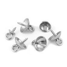 20 Uds de Metal de acero inoxidable tono tornillo ojos bolas de perforado superior tapas colgante DIY dijes conectores accesorios de la joyería