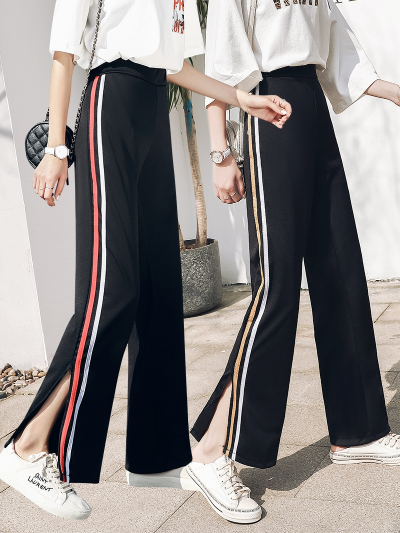 2020 Korean Casual Wide Leg Pants Split Capris Side Stripe Harajuku Trousers for Women BF High Waist Pants S-XL Dropship
