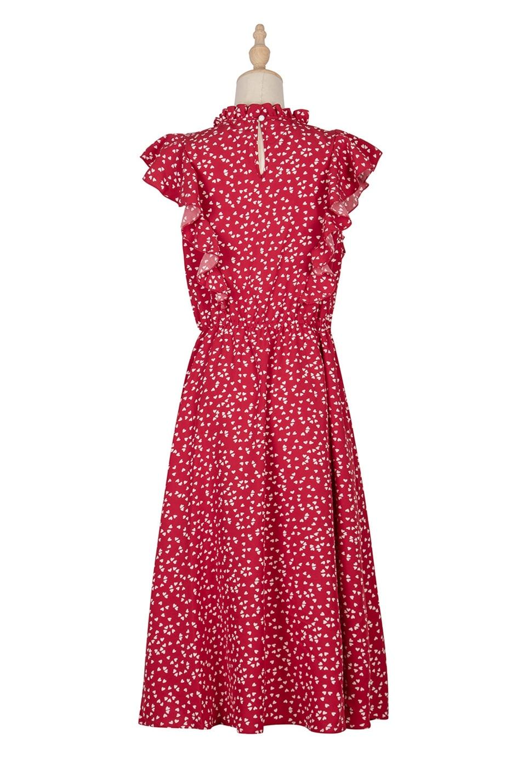 Dot Print Butterfly Sleeve Ruffles Long Chiffon Dress 7