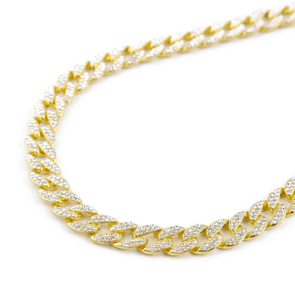 Męskie 15mm ciężkie Iced Out Miami kubański Link Chain CZ raper kryształowy naszyjnik Choker Bling Hip hop biżuteria złote srebrne łańcuszki