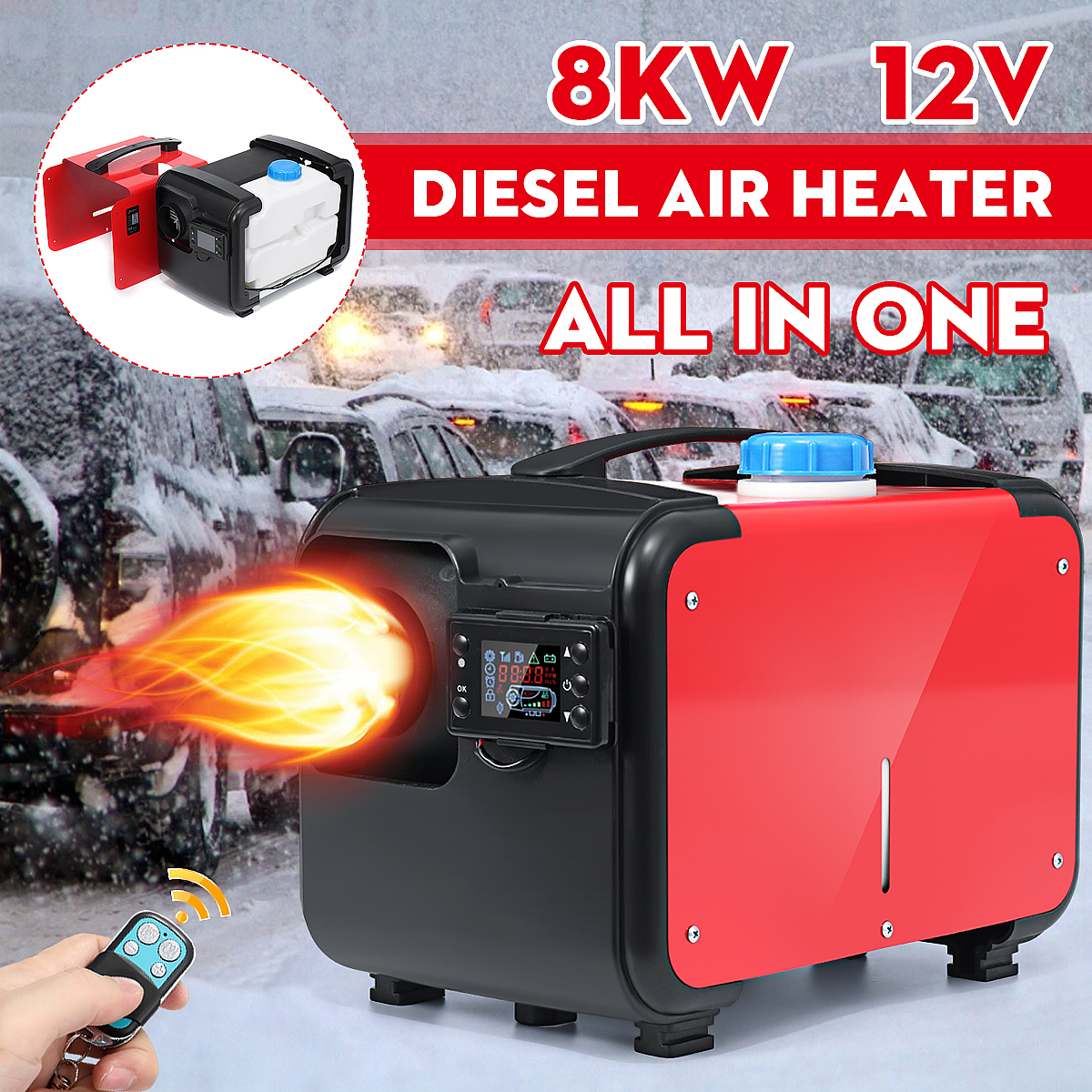 Car Heater 12V 24V 8KW All in One Heating Diesel Air Heater Single Hole New LCD Monitor Parking Warmer Quick Heat For Truck Bus