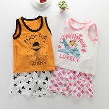 2019 Summer New Baby Clothes Children Girls Boys Kids Vest Suit Pure Cotton Cartoon Shorts