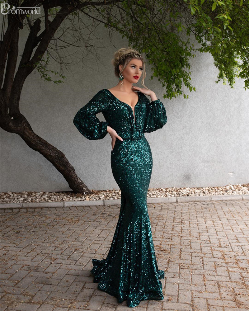 Green Muslim Evening Dresses Long 2019 V-Neck Full Sleeves Sexy Backless Formal Mermaid Evening Gowns Vestido De Festa Longo