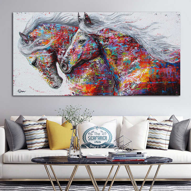 Graffiti Art Two Running Horse Animal Painting Canvas Art Big Size Wall Pictures For Living Room Canvas Print Posters No Frame