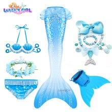 LovelyGirl Cosplay Costume Swimmable Mermaid Tail bikini kids with Fin Girls Beach Mermaid Swimsuit Mermaid Birthday Party Dress