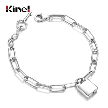 Kinel 925 Sterling Silver Lock Bracelet Safety Chain Charm Woman Bracelet Gift Fashion Jewelry 2020 New