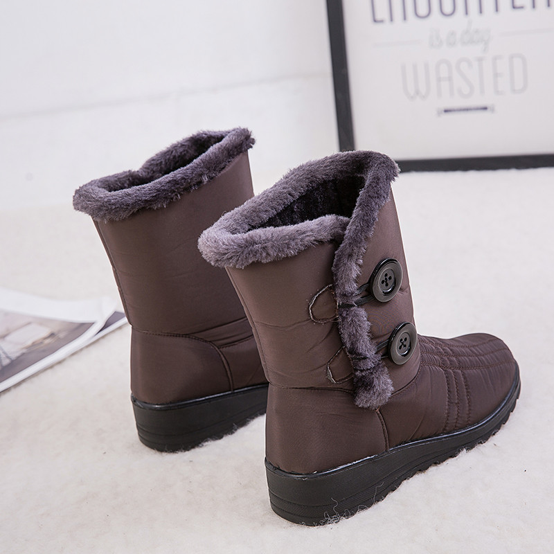 Hot Sale Snow Boots Women Winter Warm Plush Platform Fur Fringe Shoes Wedges Heels Ankle Boots Women Waterproof Botas Mujer 2019 in Ankle Boots from Shoes