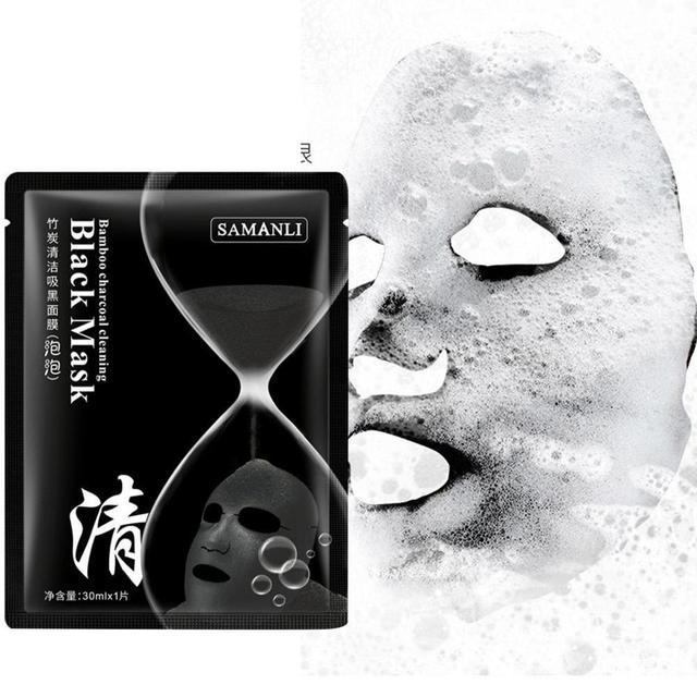 Korean Cosmetic Detox Oxygen Bubble Sheet Mask Moisturizing Bamboo Charcoal Black Face Mask Whitening Skin Care 4