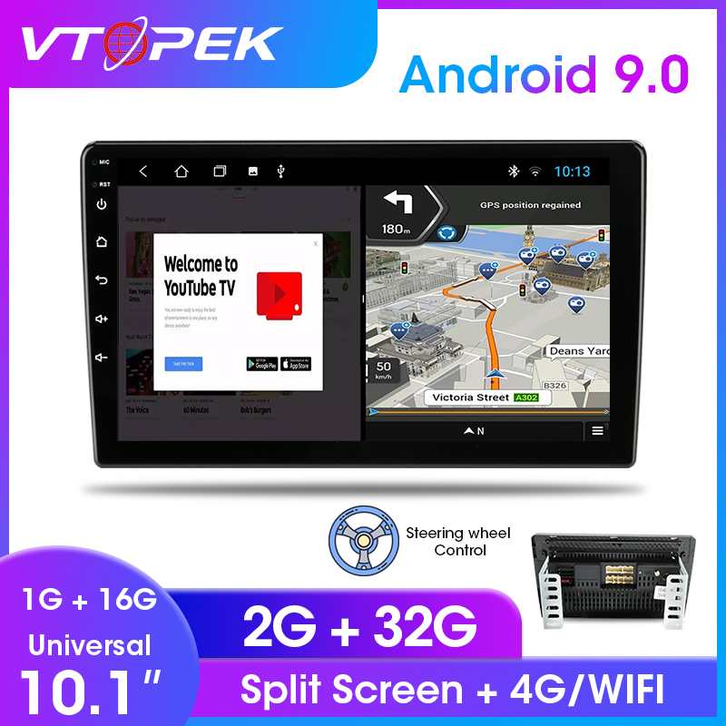 Vtopek <font><b>10</b></font> <font><b>inch</b></font> <font><b>Android</b></font> 9.0 Auto Radio Universal Car Stereo Touch Screen Multimedia Player 2G+32G Bluetooth FM mirror link DSP image