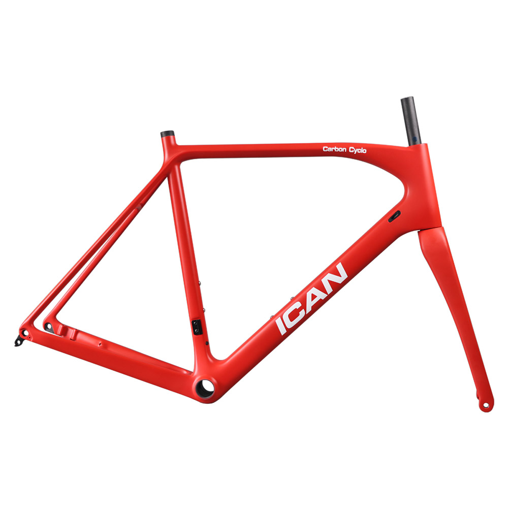 ICAN carbon flat mount disc brake frame cyclocross all internal cable route di2 carbon CX frameset 142*12 or 135*10mm rear space