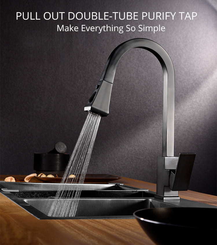 H18a4f0c5fb1a4203884150c4a31c14c0E Black Kitchen Faucet Pull Out Kitchen Tap Single Hole Handle Swivel 360 Degree Hot Cold Water Mixer Tap Kitchen Water Tap Faucet