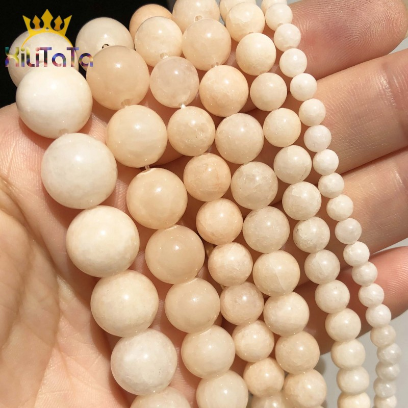 Natural Stone Light Yellow Chalcedony Jades Loose Spacer Beads For Jewelry Making DIY Bracelet Accessories 15'' 4 6 8 10 12mm