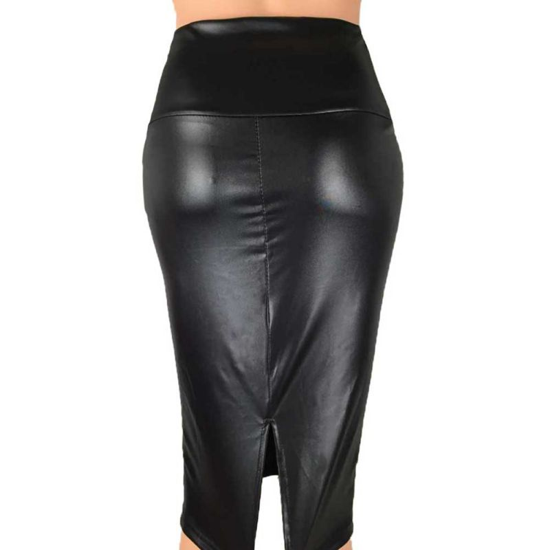 Women Pu Leather Pencil Skirt Fashion Women High Waist Solid Bodycon Skirts Sexy Back Split Package Hip Skirt Female Casual Jupe