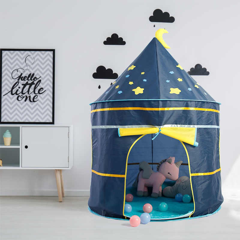 Children's Tent Foldable Tipi For Kids Baby Play House Wigwam Princess Castle Teepee Kids Hang Flag Tent Children's Room Toy