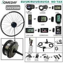 SOMEDAY 24V 250W Electric Bicycle Conversion Kit Rear Rotate Gear Hub Motor 16 29 inch 700C Wheel for Rear Drive Motor Kit