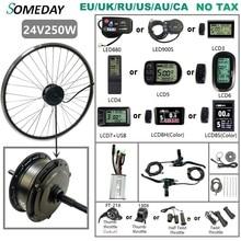 SOMEDAY Kit de conversión de bicicleta eléctrica, 24V, 250W, Motor de buje de engranaje giratorio trasero de 16 29 pulgadas, rueda 700C para Kit de Motor de accionamiento trasero
