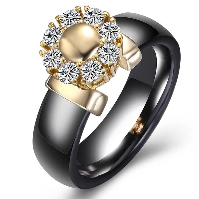 Black&White Ceramic Rings For Women Cubic Zircon Stainless Steel Engagement Wedding Rings Elegant Love Rings Ceramic Jewelry 4