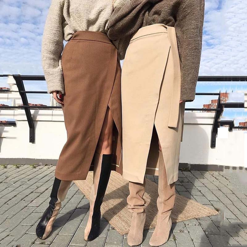 Womens Winter Skirt Wool Autumn Irregular Slit Female Brown Thick Warm Clothes 2019 Fall Lace-up Wrap Work Office Long Skirts