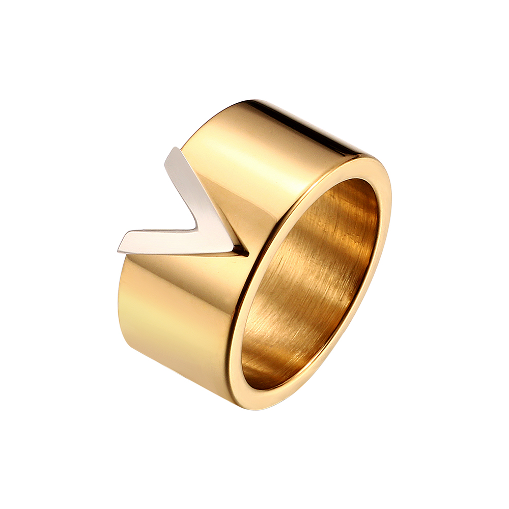 Stainless Steel High Polished Gold Plating V Shape Ring Woman Men Lover Ring 10mm Width Wedding Rings For Luxury Jewelry Gift(China)