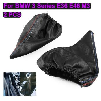 2Pcs/Set Lever Shifter Gaiter Car Handbrake Shift Knob Boot Faux Leather Cover Dust Cap for BMW 3 Series E36 E46 M3 Car Supplies image