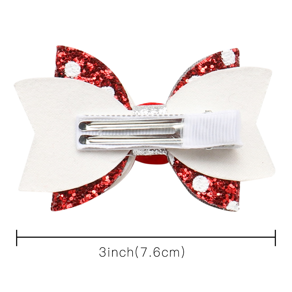 "Sparkling GLITTER HAIR clips BOWS GIRLS HAIR CLIPS GLITTER Hair Bow 3/"" Raspberry"