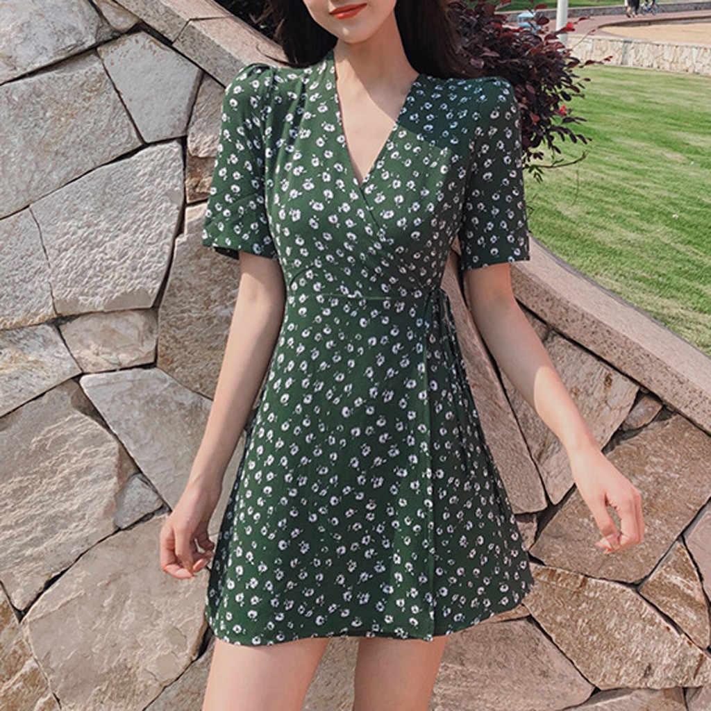 Summer Womens Polka Dot Side Slit Mini Dress Ladies Short Sleeve Casual Sundress