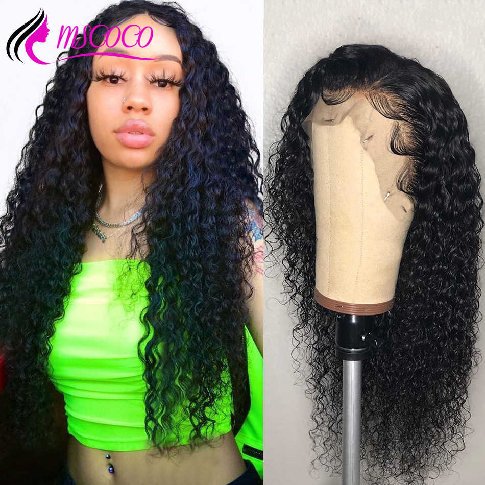 Mscoco Hair Deep Wave Wig 13x6 Lace Front Human Hair Wigs Pre Plucked With Baby Hair Remy Brazilian Curly Human Hair Wig