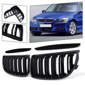 Image 1 - BMW E90 E91 4 도어 용 2005 2006 2008 4 색 쌍 전면 광택 매트 카본 컬러 블랙 2 라인 더블 슬랫 신장 그릴 그릴