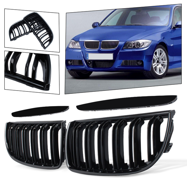 BMW E90 E91 4 도어 용 2005 2006 2008 4 색 쌍 전면 광택 매트 카본 컬러 블랙 2 라인 더블 슬랫 신장 그릴 그릴