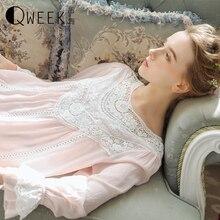 נסיכת סגנון כותנה לילה שמלת נשים הלבשת תחרה ארמון בציר כותנות לילה מוצק נערה שינה שמלת ארוך נייטי