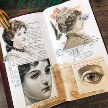 Autocollants de portrait de dame rétro, étiquette décorative pour livre d'étudiant, Scrapbooking, artisanat, papeterie de bricolage, 9 pièces