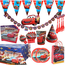 Disney Cars Birthday Party Decorations Kids Favor Lightning McQueen Paper Cups Plates Baby Shower Disposable Tableware Supplies